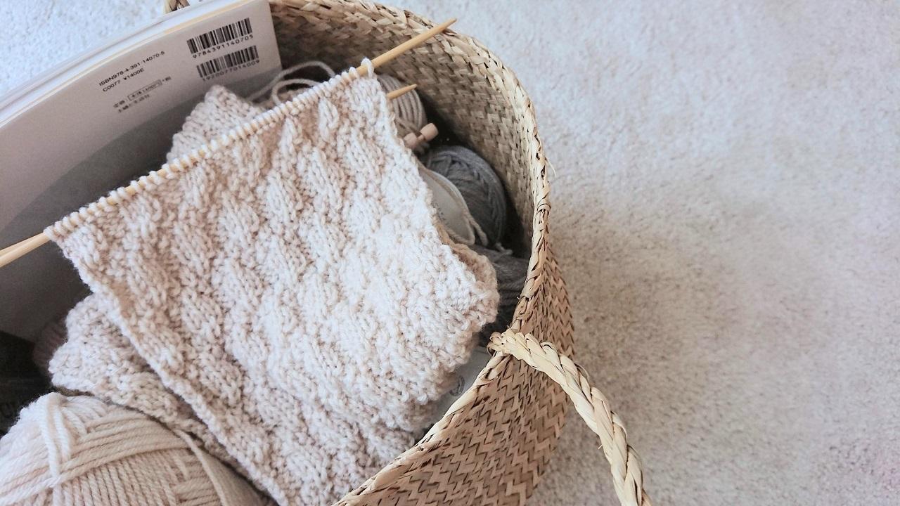 模様編みのマフラー
