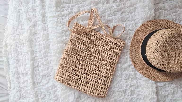エコアンダリヤのネット編みバッグ
