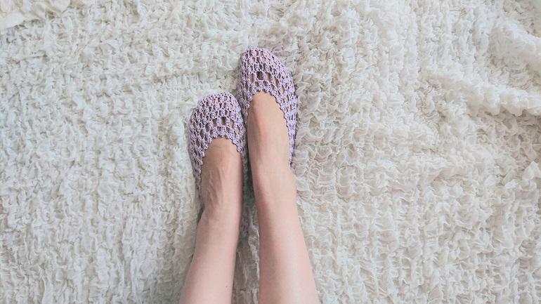 玉編みのフットカバー