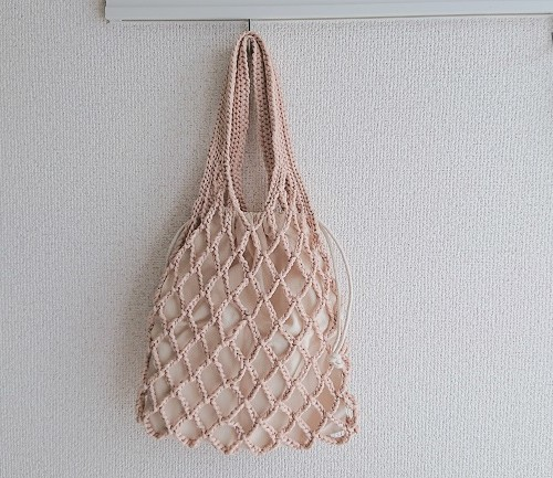 リトルモチヤーンのネットバッグ